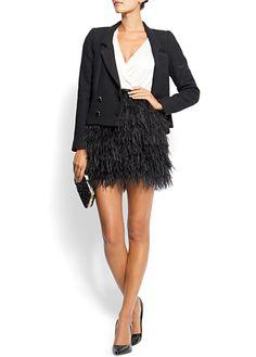 MANGO - Feather skirt. Fun ensemble.