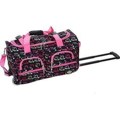 Heart Pink Black Rolling Duffle Bag 22 Inch Inline Skate Wheels Polyester