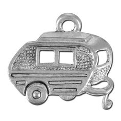 15mm Antique Silver Camping Trailer Pewter Charm