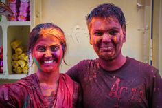 An Indian couple celebrating the incredible Holi Festival in Jodhpur, India!