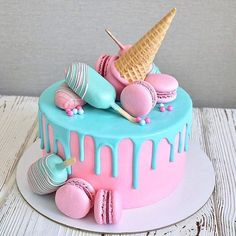 Vuelva a publicar - Torten - Pastel de Tortilla Ice Cream Birthday Cake, Cute Birthday Cakes, Beautiful Birthday Cakes, Homemade Birthday Cakes, Ice Cream Party, Little Girl Birthday Cakes, Ice Cream Theme, Birthday Cake For Brother, Creative Birthday Cakes