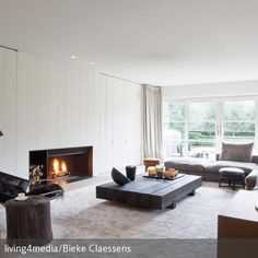kamin design lang offene feuerstelle wohnzimmer | chimenea, Wohnzimmer