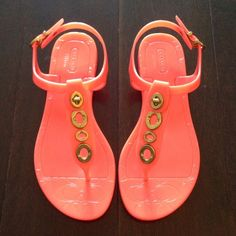 """Spotted while shopping on Poshmark: """"Final SaleCoach Coral sandals with gold accent""""! #poshmark #fashion #shopping #style #Coach #Shoes"""