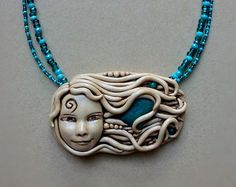 "Chrysocolla Goddess pendant with polymer clay and glass beads. 20"" OOAK"