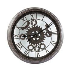 Horloge indus en métal noire D 82 cm CONTRE-TEMPS