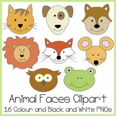 This clipart set contains 16 PNG files, 8 in Colour and 8 in Black and White.The Animal Faces are...CatDogLionMouseFrogSquirrelFoxOwlThey are intended for personal and/or commercial use.I hope you enjoy using this clipart set, if you have any comments or feedback, Id love to hear from you!If you like this set, you might also like...Animal Clipart