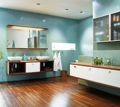 I love the combination of turquoise tiles and wooden floor.