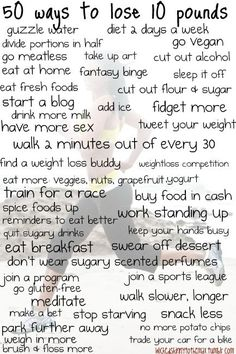 50 ways to lose 10 pounds.--- losing weight, weight loss tips