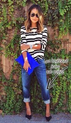 Το ριγέ μπλουζάκι σου συνδυάζεται τέλεια με το boyfriend τζιν και τις γόβες σου!