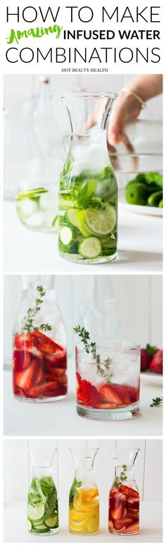 Infused water aka detox water is perfect for aiding in weight loss, a body cleanse, and glowing skin. Click to see all the many ways to make infused water.