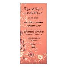 Luxury Elegant Coral Dream Floral Wedding Menu Invitations