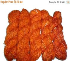 SALE Premium Recycled Sari Silk Yarn, Orange