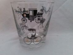 Set of 5 MCM Libbey Cocktail Glasses with Gold Leaf and Black Old Time Cars