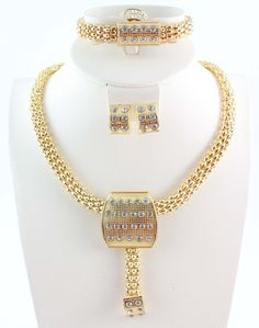 Free Shipping New Design Fashion Jewelry Clear Crystal Gold Color Necklace  Jewelry Set 436babbd22c0