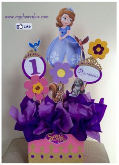 Sofia the first centerpieces #www.myshowerbox.com Princess Sofia Birthday, Sofia The First Birthday Party, Pink And Gold Birthday Party, Sofia Party, Baby Girl Birthday, Birthday Party Centerpieces, Diy Birthday Decorations, Mickey Mouse Parties, Mickey Mouse Birthday