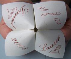 Wedding cootie catchers, wedding origami, wedding favors, wedding ideas, weddingistas, connecticut wedding planners