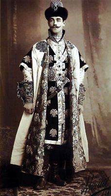 Russian courtiers dressed in traditional and historical Russian costume for the Romanov Anniversary Ball in 1903.