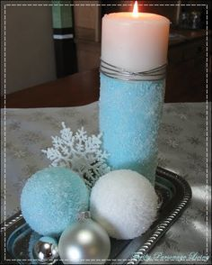 DIY Epsom Salt Ornaments and Candle... You can paint under the epsom salt to give you this effect... Love it! Great for Christmas