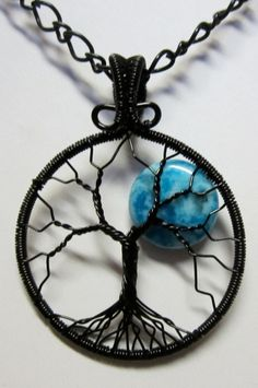 Blue Blue Moon Tree of Life by Mariesinspiredwire on Etsy, $38.00
