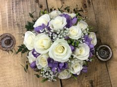 Ivory rose & lilac freesia Handtied bouquet