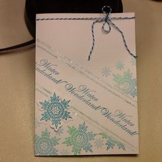 """Christmas card - snowflakes stamped with CTMH stamps and cut out on CTMH Cricut """"Art Philosophy"""" cartridge - Winter Wonderland saying is CTMH stamp with the snowflakes set"""