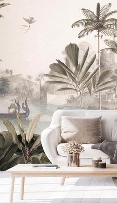 Place one of these tropical wallpapers by designer Sir Edward on a wall in your home to create the ultimate subtle statement. If you love a subtle and muted colour palette, then you will love this collection of tropical-inspired murals! Find stunning sage green shades paired with bright whites and light greys, creating a serene and minimal statement you'll love in any room! #homedecor #mutedcolours #subtlecolourscheme #sagegreen #sagegreenhome #sage Tropical Wallpaper, Green Wallpaper, Wall Wallpaper, Minimal Decor, Landscape Wallpaper, Tropical Colors, Tropical Design, Tropical Style, Interior Decorating