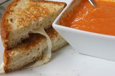 Grilled Cheese and Tomato Soup for Grownups!  As sad as it is, living with Celiac Disease, sometimes I really miss sandwiches! Recipes like this help... :)  My favorite organic, GF creamy tomato soup, some yummy muenster cheese, and a couple pieces of GF bread and bam you have delicious grilled cheese and tomato soup! I recommend Udi's bread. It has the best consistency versus some of those brands that are more brick than bread.