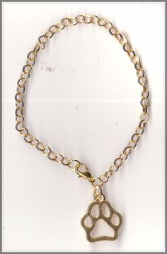 Dog Paw Charm Gold Plated Bracelet/Anklet(18cm)  by MadAboutIncense - $6.50