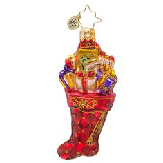 "Christopher Radko Stocking Ornament - ""Scarlet Splendor Gem"""