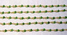 5 Feet Chrome Diopside Hydro 24k Gold Plated 3.50mm Beads Rosary Beaded Chain. # #Faceted