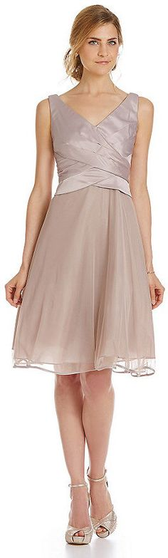 S.L. Fashions Ruched Cross-Bodice A-Line Dress #taupe #ruched #dress #bridesmaid #flare #fashion