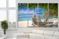 Beach art Tropical Coast Blue skies Palm trees Office wall decor Tropic art Wall art Nature Large canvas print decor landscape Wave Оcean