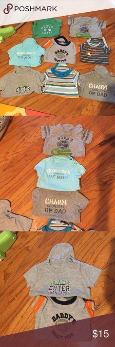 "8 piece onesie bundle set 3 baby GAP- ""great catch"" -6-12month, ""courtesy of mom""3-6 month , ""courtesy of dad"" 3-6 month;  ""totally cuter than dad"" -circo- 6 month; ""daddy's draft pick"" -koala baby - 6m; ""major cutie"" - Carter's 3M; ""little buddy"" -just one you- 6 month; stripe - genuine kids- 6M Shirts & Tops Tees - Short Sleeve"