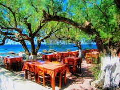 taverna on the beach, Plakias, Rethymno, Crete, Greece