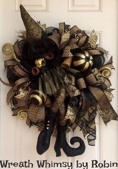 Deco oro y negro malla Deluxe Halloween bruja guirnalda