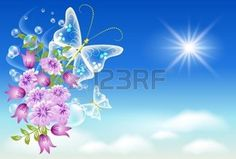 butterfly star: Fleurs et papillons dans le ciel.
