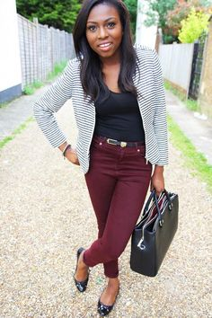 burgundy / black / striped blazer