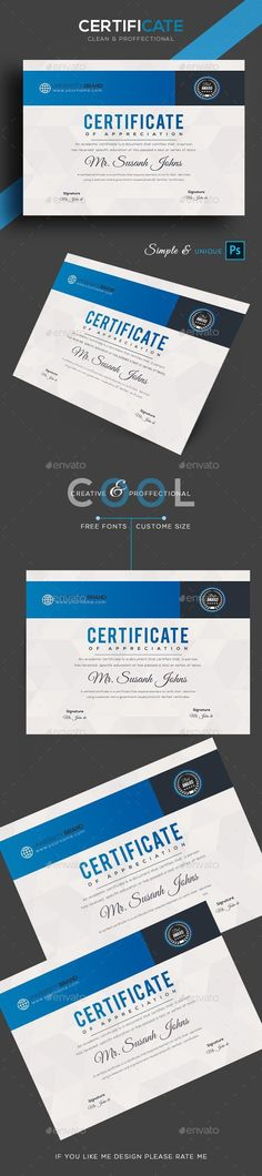 Buy Certificate by GOURAVDESIGNS on GraphicRiver. Certificate Template Fully Clean Certificate Paper Size With BleedsQuick and easy to customize templatesAny Size C. Stationery Printing, Stationery Templates, Stationery Shop, Stationery Design, Print Templates, Certificate Design, Certificate Templates, A4 Paper, Paper Size