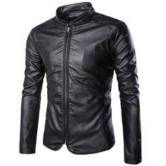 45 Men s Fall Casual Stand Collar Slim Zip Motor Biker PU Faux Leather Coat  Jackets 73c671282ef