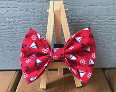 c83fdc70366a0 Red Nautical Dog Bow Tie Moños Para Perros