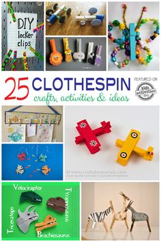 Lots of really fun clothespin crafts and activities to play with. So fun!