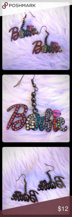 Barbie multi color rhinestone earrings These earrings are amazing! For the ultimate Barbie girl. Barbie name logo spelled out in dark silver gunmetal metal with beaded drop and hanging hook. Multiple bright colors of rhinestones adorn the front : a different color for every letter. And the i is dotted with pink enameled lips! So cute! Perfect condition, hardly worn. For the girlies of girls or to make a pop of a basic outfit! 💋 Barbie Jewelry Earrings