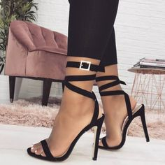 Black Suede Open Toe Buckle Strappy Sandals Stiletto Heel Sexy Shoes for Party, Night club, Music festival, Date, Going out Pump Shoes, Flat Shoes, Shoes Heels, Strappy Sandals Outfit, Women's Sandals, Silver Sandals, Prom Heels, Outfit Trends, Studded Heels