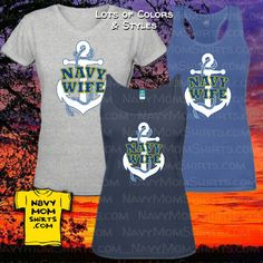 Navy Wife Shirts with Big White Anchor by NavyMomShirts.com