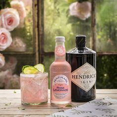The perfect pair! 50ml Hendricks Gin, 125ml Fentimans Rose Lemonade, garnished with cucumber slices.