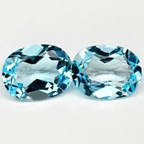 SKY BLUE TOPAZ oval 6x8 mm pair 2.70 cts exellent aquamarine colour