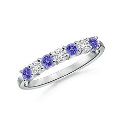 Angara Airline Set Three Stone Tanzanite Diamond Cathedral Ring in Platinum okoVXS7C