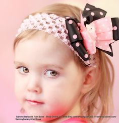 Black and Pink Hello Kitty Hair Bow by Sammy Banany's by iguania03, $6.99