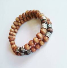 Men's brown wood stretch beaded bracelet with light by Absynia