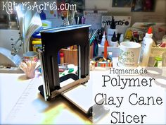 Polymer clay cane slicer DIY project with 13 pages of instructions. Learn how to make your own clay cane slicing machine with this manual. Homemade Polymer Clay, Polymer Clay Tools, Polymer Clay Canes, Diy Clay, Clay Crafts, Polymer Clay Jewelry, Make Your Own Clay, Clay Videos, Clay Design